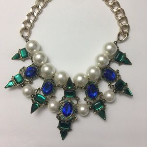 Green Blue Pearl Rhinestone Statement Necklace